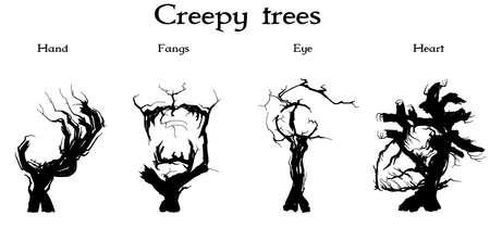 Set of four silhouettes of creepy trees
