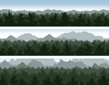 pine trees: Set of forest and mountains panorama scenes