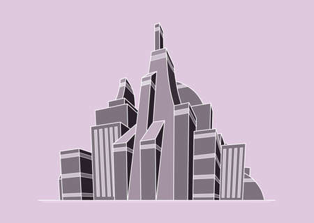 clipart street light: Illustration of futuristic city in pink-grey colors Illustration