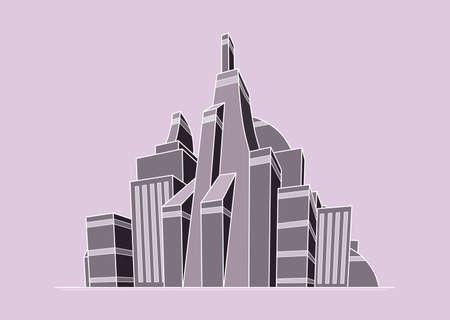 Ilustración de la ciudad futurista en colores rosa-gris