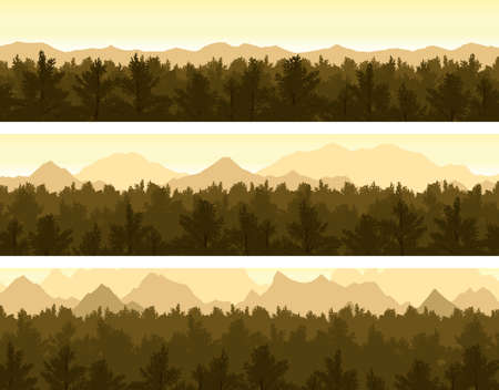 Set of forest and mountains panorama scenes