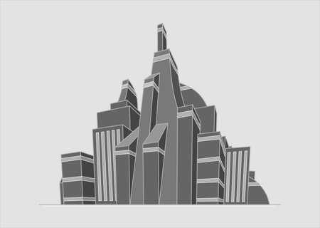 Ilustración de la ciudad futurista en blanco y negro