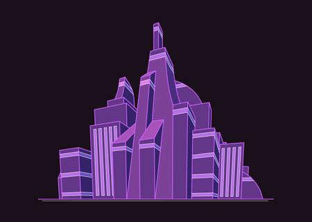 Ilustración de la ciudad futurista en colores púrpuras
