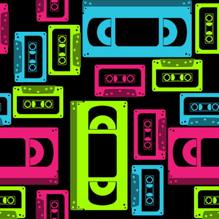 Vivid seamless pattern on the theme of VHS