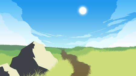 field landscape flat color illustration in day time