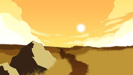 field landscape flat color illustration in evening time
