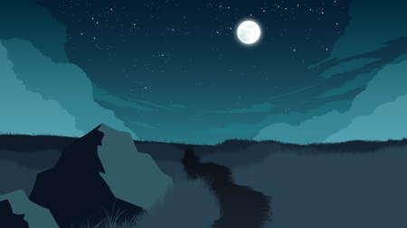 field landscape flat color illustration at night time 向量圖像