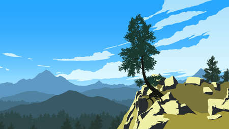 mountains and forest landscape illustration in day time