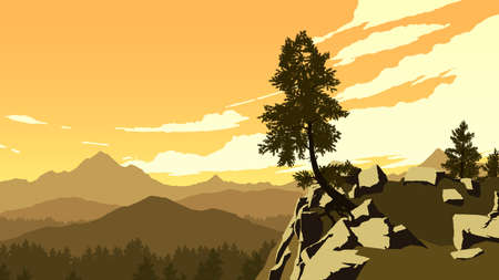 mountains and forest landscape illustration in evening time