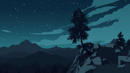 mountains and forest landscape illustration at night time