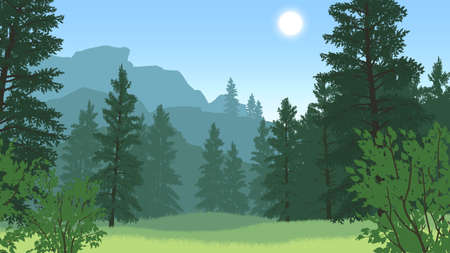 forest landscape flat color illustration in day time