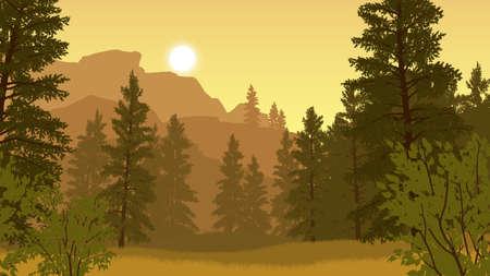 forest landscape flat color illustration in evening time