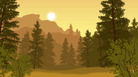 forest landscape flat color illustration in evening time
