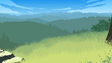 hills landscape flat color illustration in day time