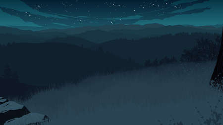 hills landscape flat color illustration at night time