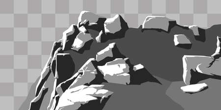 set of realistic stones with highlights and shadows