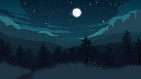 mountain road: forest landscape flat color illustration at night time