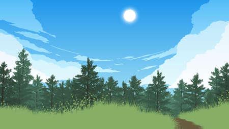 forest landscape flat color illustration in day time