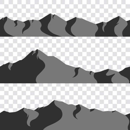 set of seamless illustrative mountains with shadows