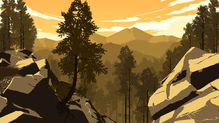 Mountain forest landscape illustration 向量圖像