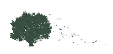 tree with flying leaves illustration in flat color 向量圖像