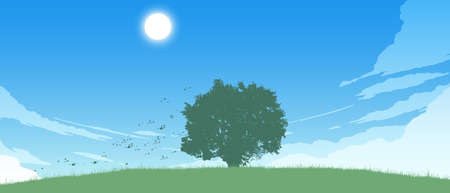 lonely tree on field flat color illustration in day time 向量圖像