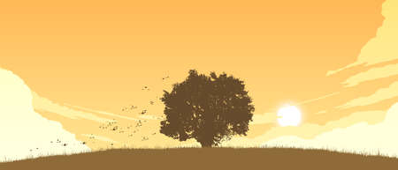 lonely tree on field flat color illustration in evening time