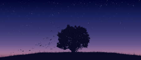 lonely tree on field flat color illustration in morning time