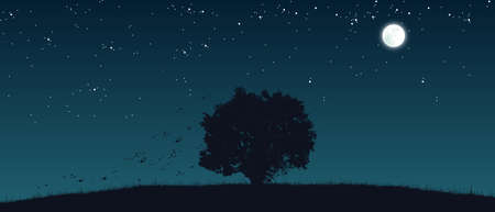lonely tree on field flat color illustration at night time
