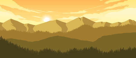 mountains and hills landscape illustration in evening time 向量圖像
