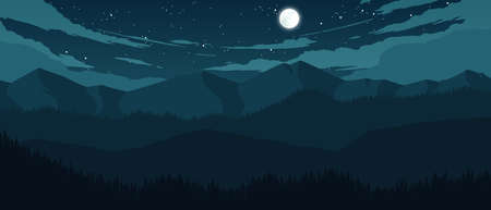 mountains and hills landscape illustration at night time
