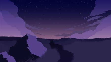 field landscape flat color illustration in the morning