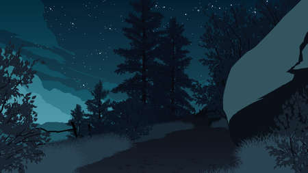 mountain forest landscape flat color illustration at night time
