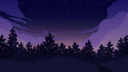 forest landscape flat color illustration in the morning