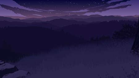 hills landscape flat color illustration in the morning 向量圖像