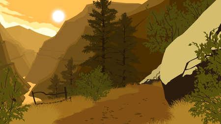 mountain forest landscape flat color illustration in evening time