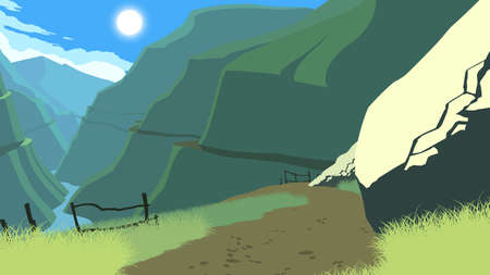 mountains landscape flat color illustration in day time