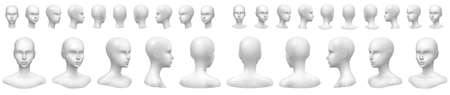 Isolated vector set of faceless mannequin busts and heads.
