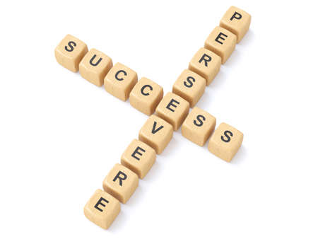 persevere:  Persevere and success crosswords Stock Photo