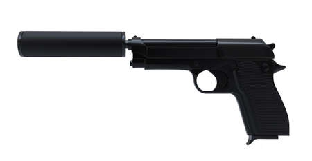 Gun with silencer Stock Photo - 24497356