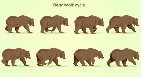 Vector Bear Walkcycle, Frame by Frame Animation for 2D Animation, Motion Graphics, With a Gradient background
