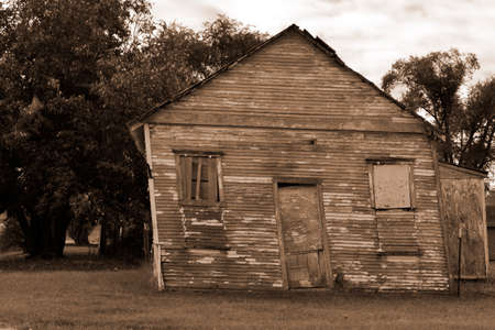 Leaning old shed