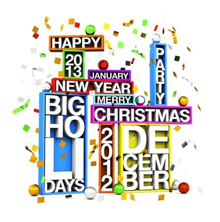 Big Holidays Merry Christmas Happy New year Stock Photo