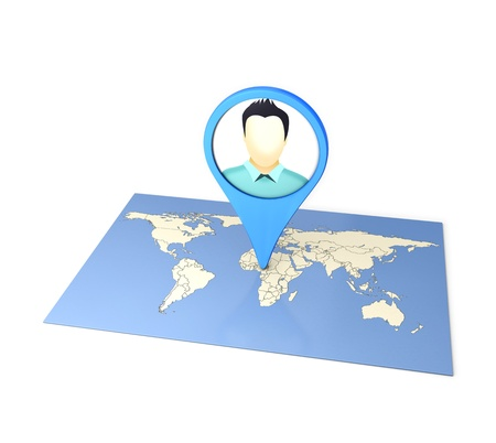 Checkin on The World Map social media by Smart Phone
