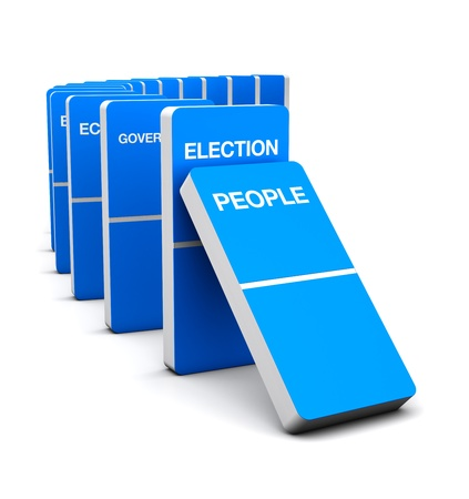 3D Blue Render Domino Election symbol Concept idea  Stock Photo