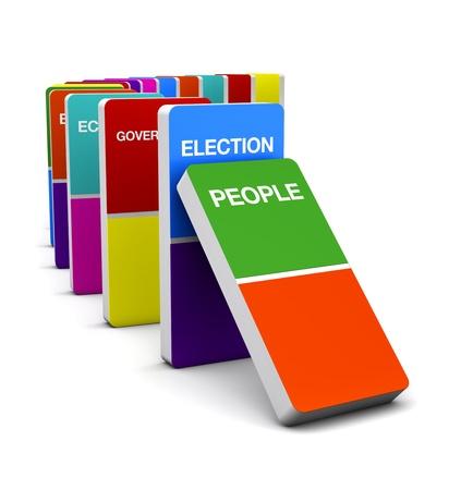 3D Colorful Render Domino Election symbol Concept idea