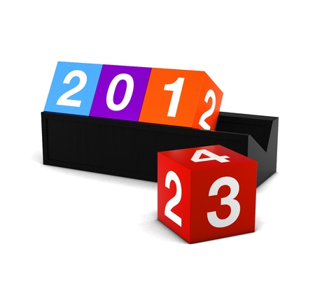 3D Render Countdown New Year Celebration 2013 Colorful box