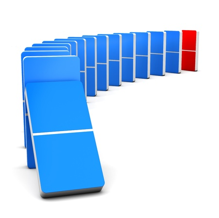 3D render Colorful Red and Blue Domino for  Stock Photo - 15702998