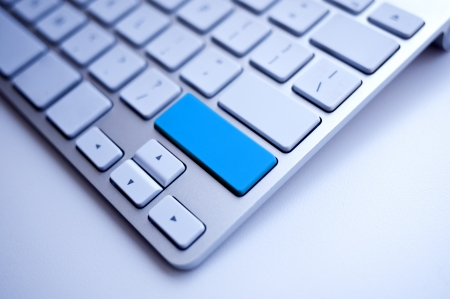 Blue Keyboard empty space free for the word Stock Photo