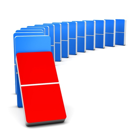 3D render Colorful Red and Blue Domino for  Stock Photo